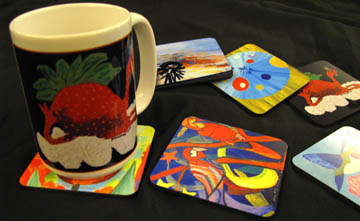 Bernadette Resha art on coasters